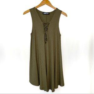 Audrey 3+1 Olive Green Sleeveless Shift Dress S